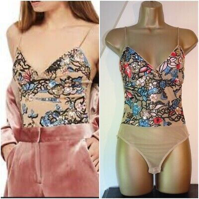 £5 • Buy Topshop Size 6 Amazing Sequin Embellished Bodysuit Embroidered Festival Party