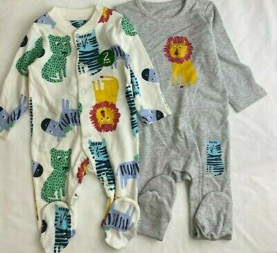 £6.29 • Buy NEW Ex Store 2 Pack Baby Boys Lions Zebra Animals Cotton Sleepsuits Babygrows