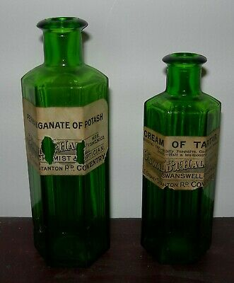 £3.20 • Buy 2 Vintage Green Hexagonal Chemist Bottles - Oswald  T Hall, Swanswell, Coventry