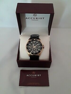 £40 • Buy Accurist Men's Chronograph Black Leather Strap, Gold Watch MS1040B With Box