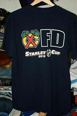 £8.77 • Buy Chicago Fire Dept Blackhawks 2010 Stanley Cup Champs T Shirt Tag XL Fits Lg/XL