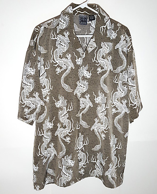£10.88 • Buy Authentic Shaolin Button Shirt | Chinese Dragon Polyester | Mens Large