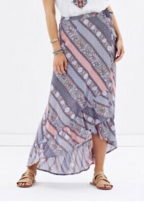AU19.99 • Buy Tigerlily Luxe Boho Lagunas Wrap Frill Skirt Pink Purple Floral Maxi Size S 8-10