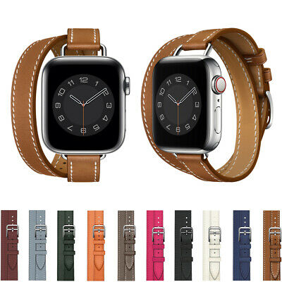 AU19.42 • Buy 40/44mm Slim Double Tour Leather Band Strap For Apple Watch Series 6 5 4 3 2 SE