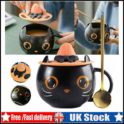 £7.96 • Buy Black Cat Cup Water Mug With Witch Cap Lid & Spoon Halloween Gift For Family UK