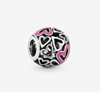 AU14.50 • Buy New PANDORA Sterling Silver S925 ALE Pink Openwork Freehand Heart Charm # 798677