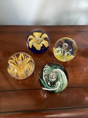 £14.99 • Buy 4 Glass Paperweight Fixed Bubble Flowers