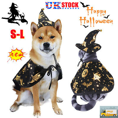 £7.59 • Buy Halloween Witch Cloak Cape Hat Pet Dog Cat Fancy Dress Up Costume Outfit Set NEW