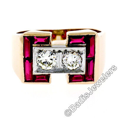 AU1906.75 • Buy Retro Men's 14K Rosy Yellow Gold 0.56ctw Diamond & Baguette Ruby Wide Band Ring