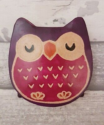 £1.80 • Buy Genuine Real Leather Purple Red Owl Bird Coin Money Cash Purse Wallet Press Stud