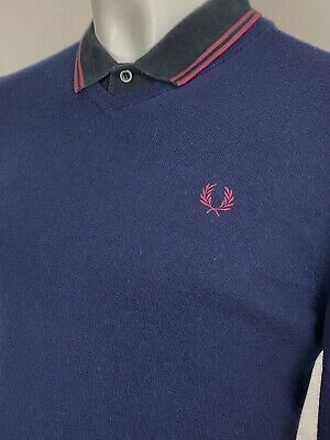 £5.50 • Buy Fred Perry | Merino Wool V-Neck Jumper Sweater M|40  (Blue) Mod Scooter 60s Ska