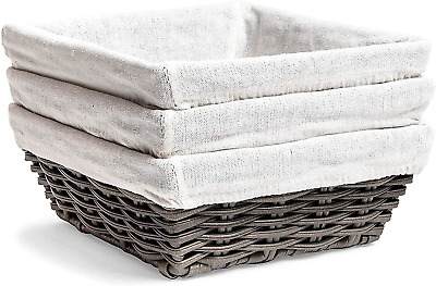 £14.81 • Buy Farmlyn Creek Square Wicker Storage Baskets With Liners 9 X 9 X 3.5 Inches, 3