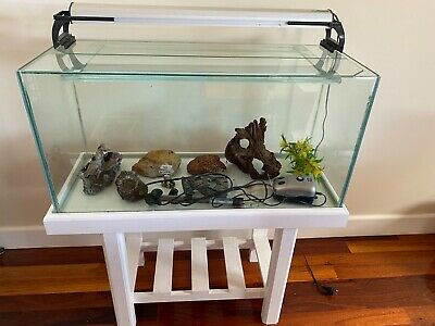 AU20 • Buy 3ft/150L Fish Tank And Pine Stand, With Some Accessories