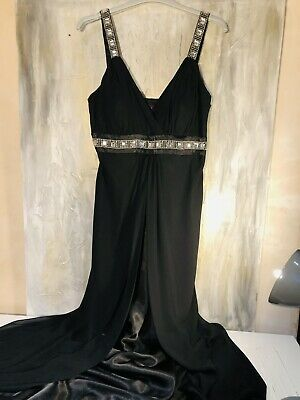 £29 • Buy Stunning Embellished Debut Floor Length Black Party /prom Dress In Silk Chiffon