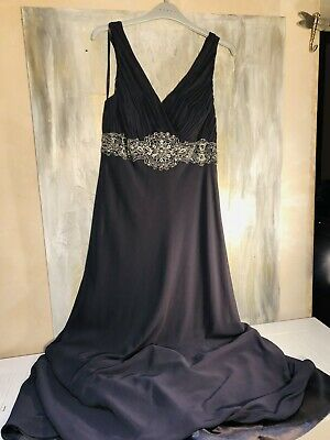 £29 • Buy Debut Embellished Floor Length Grey Party /prom Dress In Silk Chiffon Size 12