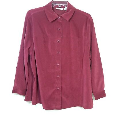 £10.22 • Buy Croft & Barrow Womens Size 1X Heavy Shirt Lite Jacket Button Front Red