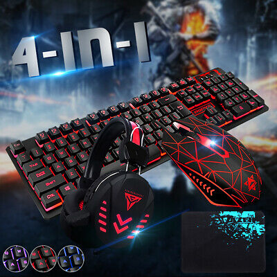 AU26.32 • Buy Backlight USB Wired Gaming Keyboard And Mouse Set With Headset For PC