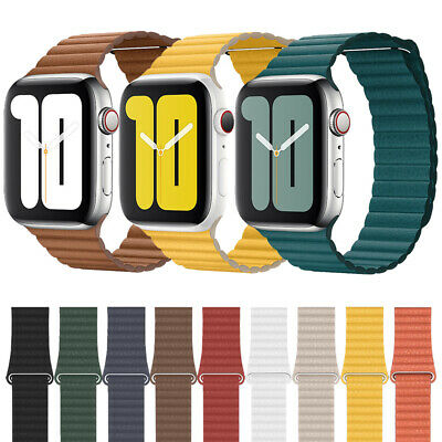 AU14.79 • Buy For Apple Watch Leather Loop Magnetic Band Strap IWatch Series 7 6 5 4 3 40/44mm