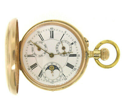 £6347.38 • Buy Antique 14k Solid Gold Day Date Moon Phase French Qualite Lepine Pocket Watch