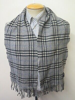 £19.99 • Buy Genuine Burberry 50% Lambswool 50% Cashmere Check Scarf Length 56  142cm - Grey