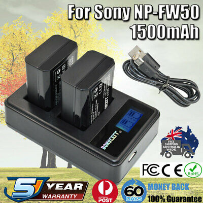 AU28.99 • Buy 2x NP-FW50 Battery + Charger For SONY Alpha A5000,A5100,A6000,A6300,A6500,A7,7R