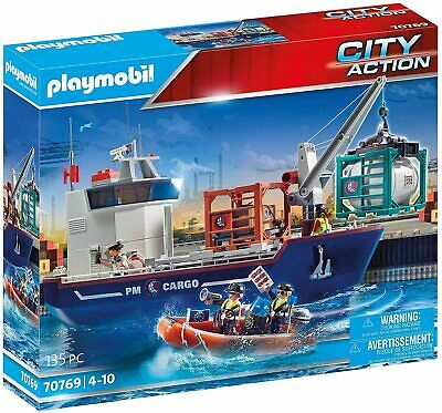 £85.99 • Buy Playmobil City Action 70769 Cargo Ship With Boat, Floats, Ages 4+