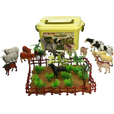 £16.99 • Buy Farm Animals Figures Toy Realistic Action Animals In Carry Case 60pc Set