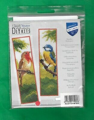 £4.59 • Buy Vervaco Counted Cross Stitch Kit Bookmarks - Birds Robin & Blue Tit Sealed New