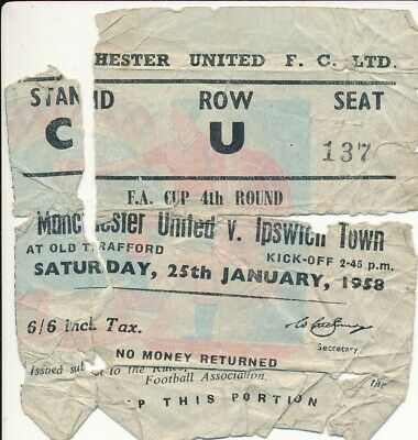 £19.99 • Buy TICKET: Manchester United V Ipswich Town (FA Cup) 1957/1958