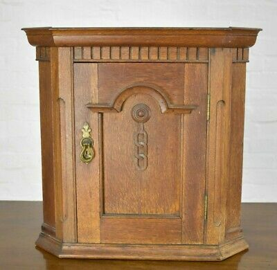 AU220.73 • Buy Antique Rustic Carved Farmhouse Wall Mounted Corner Cupboard / Cabinet