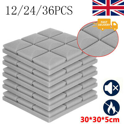 £71.99 • Buy 36PCS Acoustic Wall Panel Tiles Studio Sound Proofing Insulation Foam Pads Grey