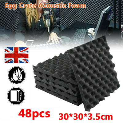 £32.99 • Buy 48 Piece Acoustic Wall Panel Tiles Studio Sound Proofing Insulation Foam Pads UK