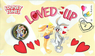 AU12.50 • Buy 2019 Looney Tunes Loved Up PNC/FDC Mint $1 Colored Coin & $1 Valentine Stamp