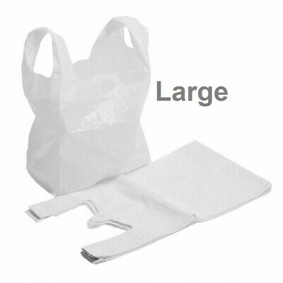 £5.69 • Buy Plastic Vest Carrier Bags LARGE Strong WHITE Polythene Stalls Shop Bags 11x17x21