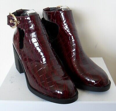 £3.20 • Buy Top Shop Burgundy Croc Patern Chelsea Ankle Boots Size 8 (41)