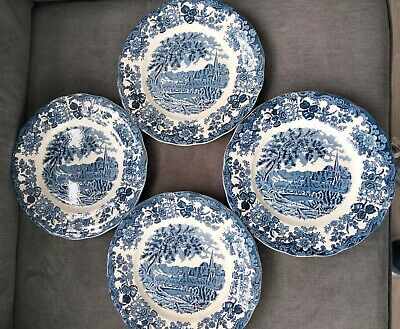 £4 • Buy Royal Worcester Hand Engraved Plates Of 1790 Avon Scenes, Palissy, Staffordshire