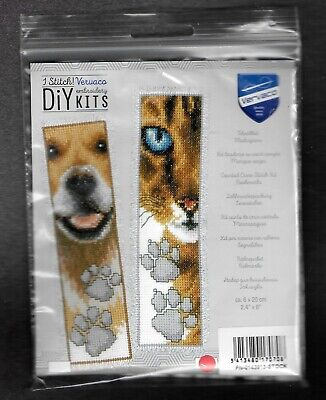 £8 • Buy Vervaco Counted Cross Stitch Kit Bookmarks - Animals Cat & Dog Sealed New