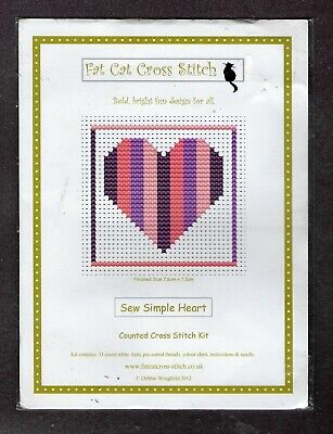 £3.99 • Buy Childrens Fat Cat Cross Stitch Kit Sew Simple Heart - Christmas Stocking Filler