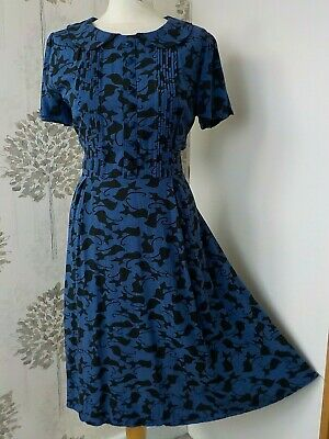 £11.96 • Buy Joe Browns Blue With Black Cat Stretch Button Front Fit Flare Halloween Dress 12