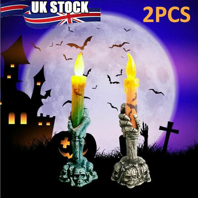 £5.98 • Buy 2PCS Halloween Skeleton Hand Led Lamp Candle Flame Light Stand Lamp Party Decor