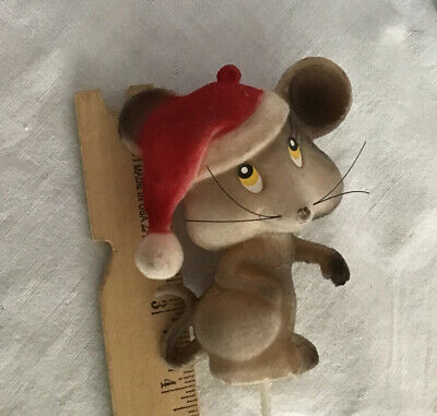 £7.26 • Buy 4 Vintage Flocked Teddy Bear & Mouse Craft Pick Christmas Decoration New Old S