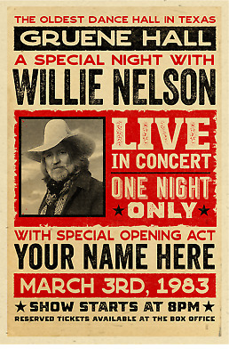 $20 • Buy Your Name On A Personalized COUNTRY MUSIC Concert Poster With WILLIE NELSON