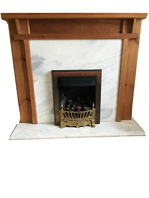 £35 • Buy Wooden Surround, Marble Hearth And Back Panel; Fully Functioning Gas Fire - Used