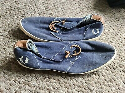 £4.99 • Buy Fred Perry Canvas Shoes Blue Size 9 Trainers Plimsolls Sneakers Suede Mens