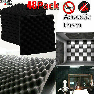 £8.99 • Buy 6/12/24/48 Acoustic Wall Panel Tiles Studio Sound Proofing Insulation Foam Pads
