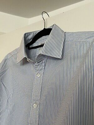£12.99 • Buy TM Lewin 100 Slim Fit Double Cuff Links Shirt Blue White Stripes 16.5 Inch Neck