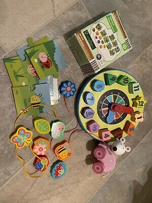 £12.99 • Buy Wooden Toys Bundle Melissa And Dough Clock , Threading Wooden Toys, Wooden Mouse