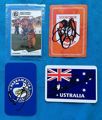 AU9.99 • Buy Vintage  Rugby League  Cards Hand Signed Players Signature Cards X 4  Lot 4