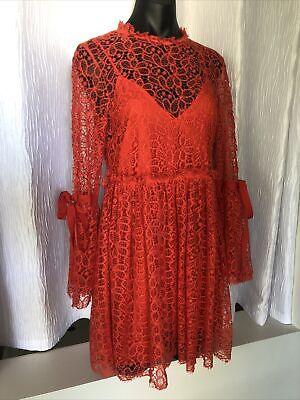 AU96 • Buy ALICE McCall Size 12 Back To You Red Lace Mini Dress Worn Once
