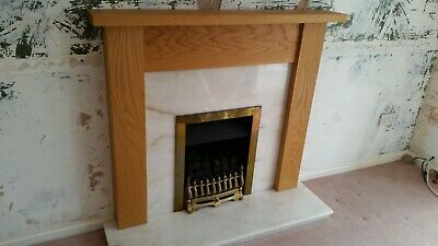 £50 • Buy Solid Oak Fire Surround With Marble Hearth/back Panel